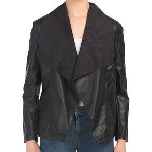 Tahari Black Faux Leather Jacket M